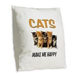 HAPPY CATS Burlap Throw Pillow