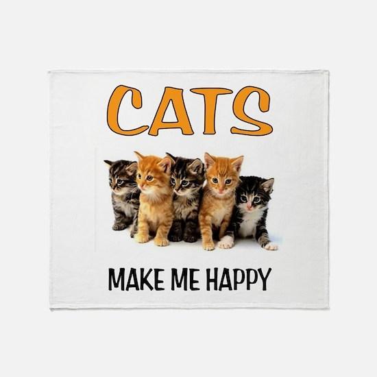 HAPPY CATS Throw Blanket