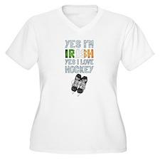 Yes Im Irish, Yes I love Hockey Plus Size T-Shirt