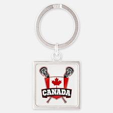 Canadian Flag Lacrosse Logo Keychains