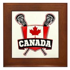 Canadian Flag Lacrosse Logo Framed Tile