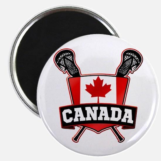 Canadian Flag Lacrosse Logo Magnets