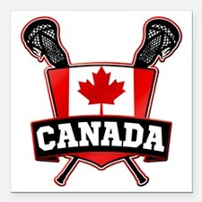 "Canadian Flag Lacrosse Logo Square Car Magnet 3"" x"