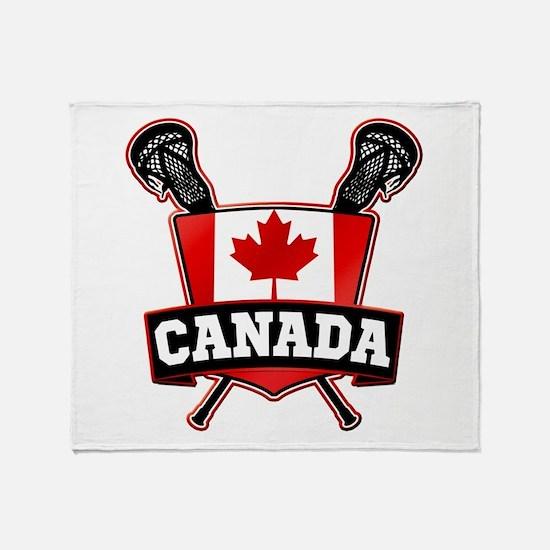 Canadian Flag Lacrosse Logo Throw Blanket