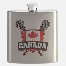 Canadian Flag Lacrosse Logo Flask