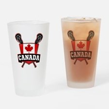 Canadian Flag Lacrosse Logo Drinking Glass