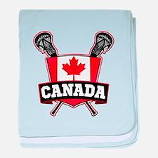 Canadian Flag Lacrosse Logo baby blanket