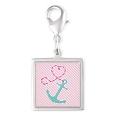 Cute Anchor with Heart Rope on Pink Stripe Charms