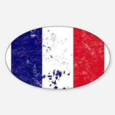 French Flag (Punk) Oval Decal