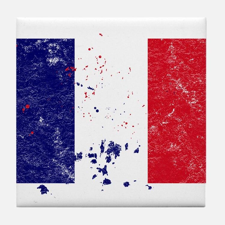 French Flag (Punk) Tile Coaster
