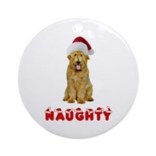 Naughty Goldendoodle Ornament (Round)