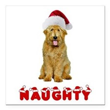 "Naughty Goldendoodle Square Car Magnet 3"" x 3"""