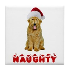 Naughty Goldendoodle Tile Coaster