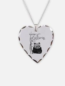 Little Panda Necklace Heart Charm