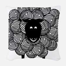Yarny Sheep for Lights Woven Throw Pillow