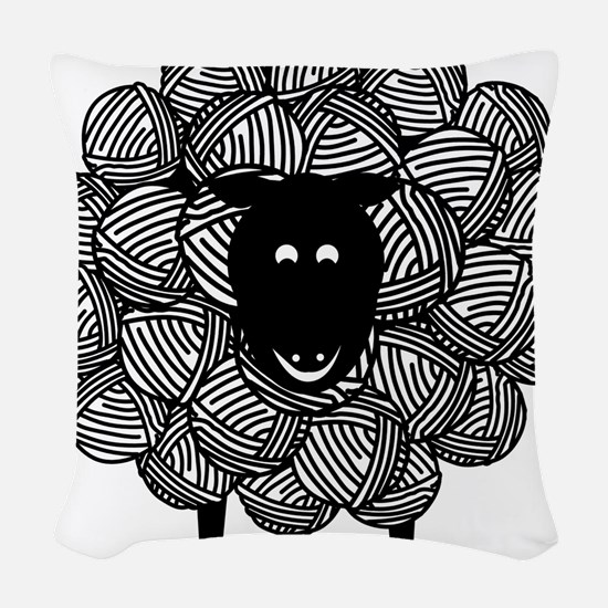 Yarny Sheep for Lights Woven Throw Pillow