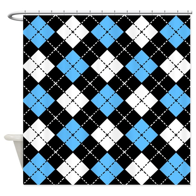 Argyle Pattern Black Blue And White Shower Curtain By Cutetoboot