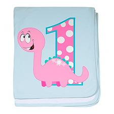Dinosaur First Birthday baby blanket