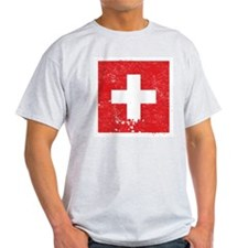 Swiss Flag (Punk) Ash Grey T-Shirt