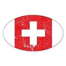 Swiss Flag (Punk) Oval Decal