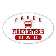 Proud Firefighter's Dad Oval Bumper Stickers