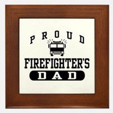 Proud Firefighter's Dad Framed Tile