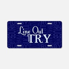 Line Out and Try Rugby Aluminum License Plate