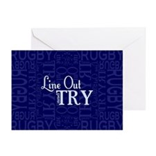 Line Out and Try Rugby Greeting Cards (Pk of 20)