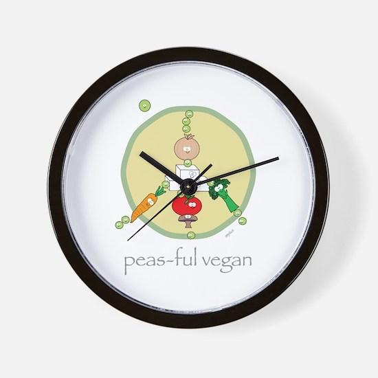 Peas-ful Vegan Wall Clock