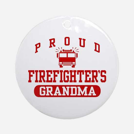 Proud Firefighter's Grandma Ornament (Round)