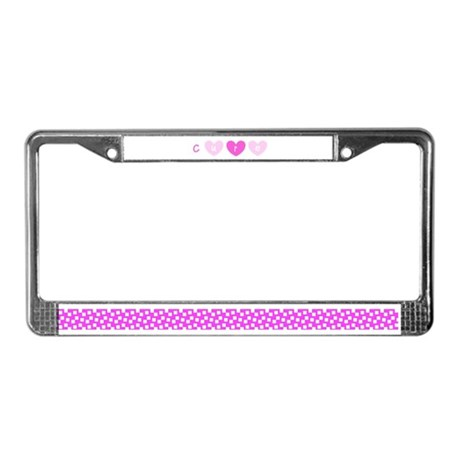 Cure Pink Hearts Breast Cancer License Plate Frame