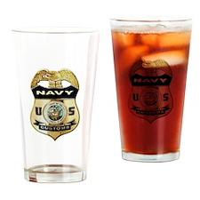 U S Navy Customs Badge Drinking Glass