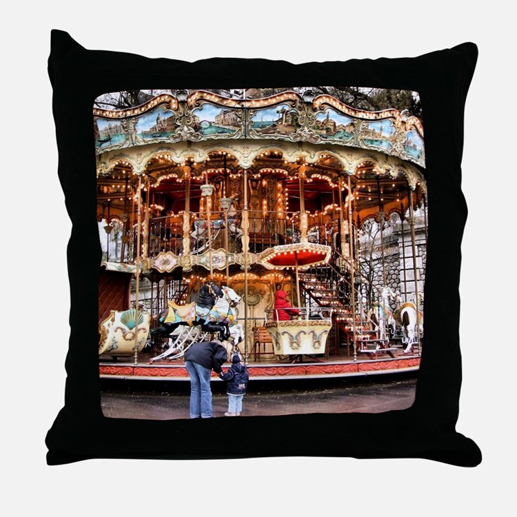 Carousel in Montmartre Throw Pillow