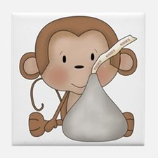 Monkey with Kiss Candy Tile Coaster