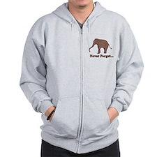 Elephant Never Forget Dinosaur Zip Hoodie