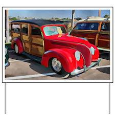 Paneled Woody Classic Surf Car Yard Sign