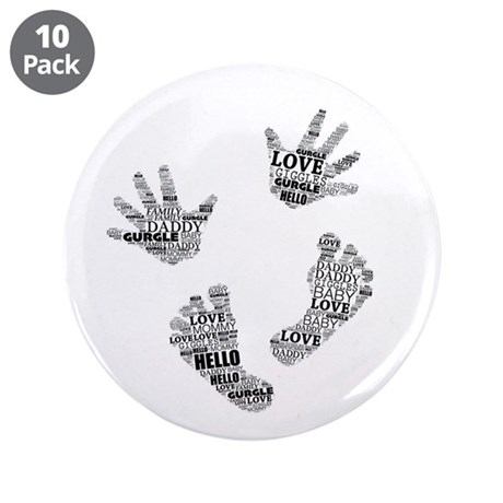 "Baby Hands and Feet with Words 4 3.5"" Button (10 p"
