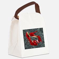 Rock Me Red Pom Poms Canvas Lunch Bag