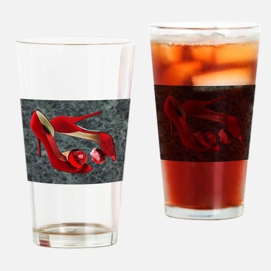 Rock Me Red Pom Poms Drinking Glass