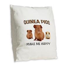 HAPPY PIGS Burlap Throw Pillow
