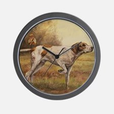 English Pointer with Hunter Wall Clock