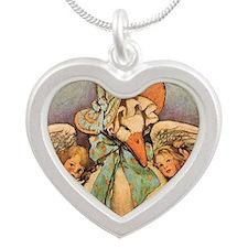 Vintage Mother Goose Silver Heart Necklace