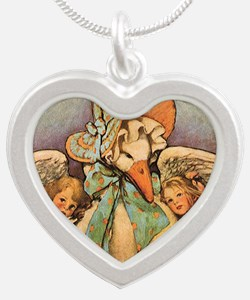 Vintage Mother Goose Silver Heart Necklace