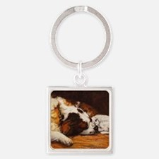 Saint Bernard and Cat Square Keychain