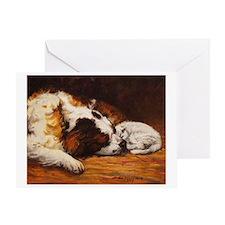Saint Bernard and Cat Greeting Card