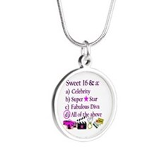 SWEET 16 DIVA Silver Round Necklace