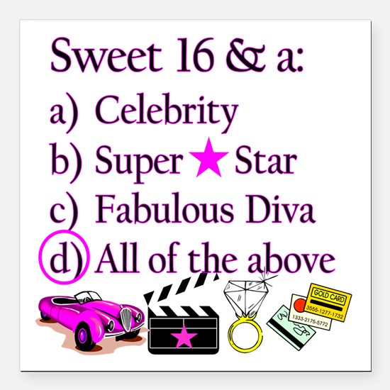 "SWEET 16 DIVA Square Car Magnet 3"" x 3"""