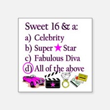"SWEET 16 DIVA Square Sticker 3"" x 3"""