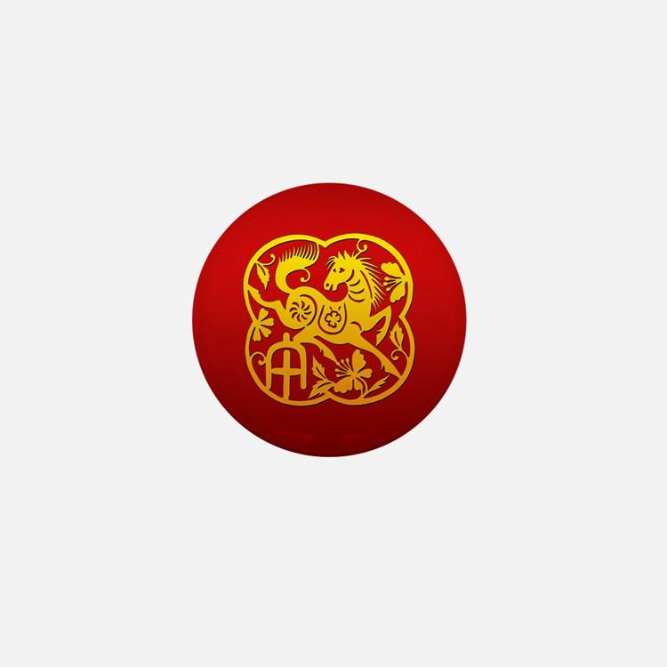 Chinese Papercut Year of The Horse Mini Button (10
