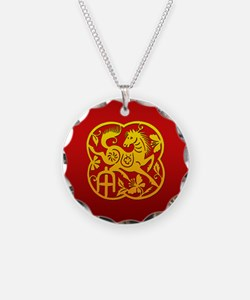 Chinese Papercut Year of The Horse Necklace